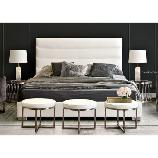 Carla Modern White Leather Bed