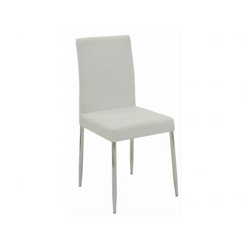 Clio White Leather Dining Chairs
