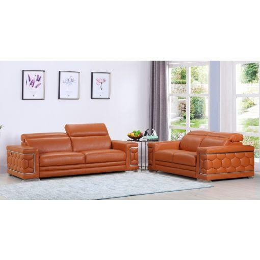 Arianna Peach Leather Sofa