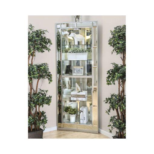Convex Mirrored Corner Curio Cabinet