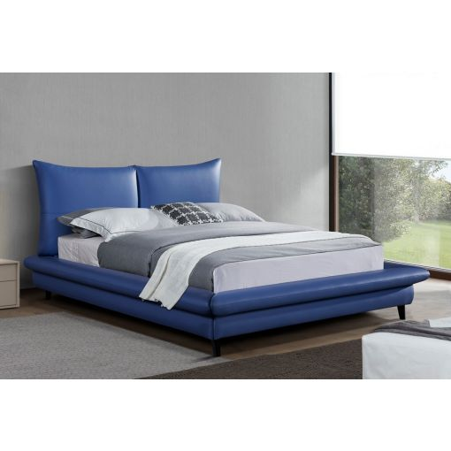 Corsi Blue Leather Platform Bed