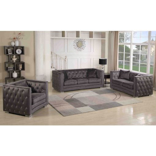 Corvus Grey Velour Chesterfield Sofa