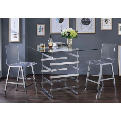 Cronus Modern Glass Top Pub Table Set