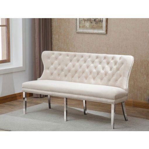 Deckard Beige Velvet Bench Chair
