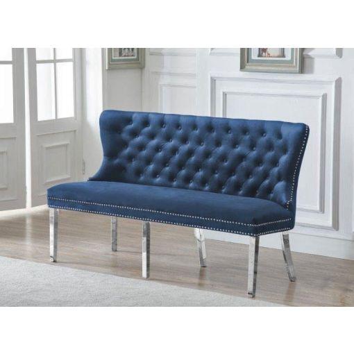 Deckard Navy Blue Velvet Bench Chair