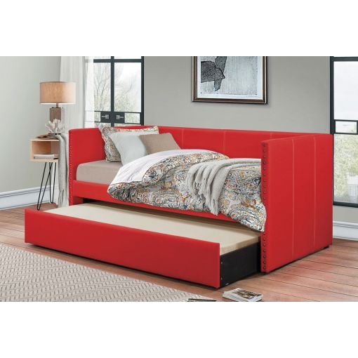 Deco Red Daybed With Trundle