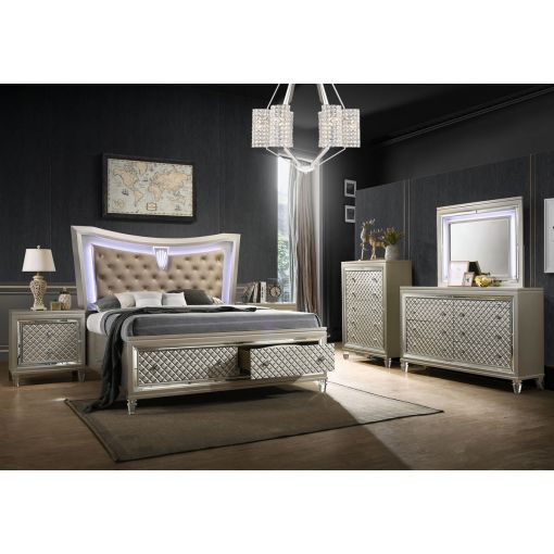 Dehon Bed With LED Lights Champagne Finish