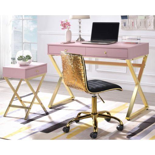 Delaney Pink Office Desk With Gold Finish Base