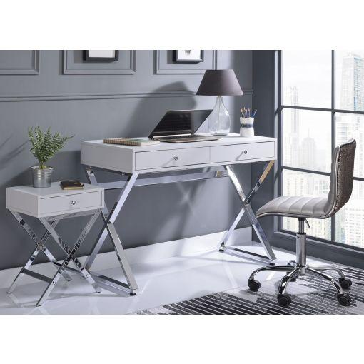 Delaney White Lacquer Finish Office Desk