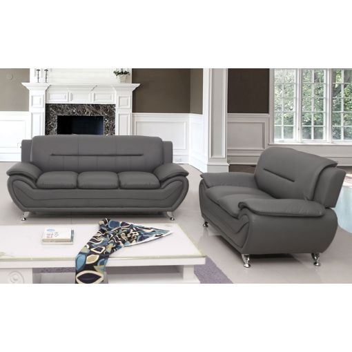 Deliah Grey Leather Modern Sofa