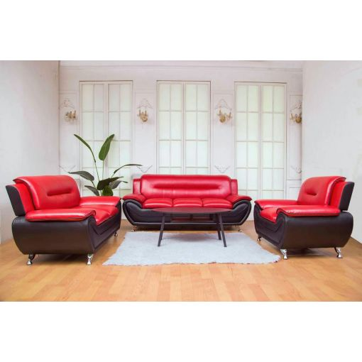 Deliah Red and Black Modern Sofa