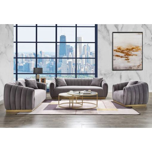 Derwyn Grey Velvet Sofa Set Gold Base