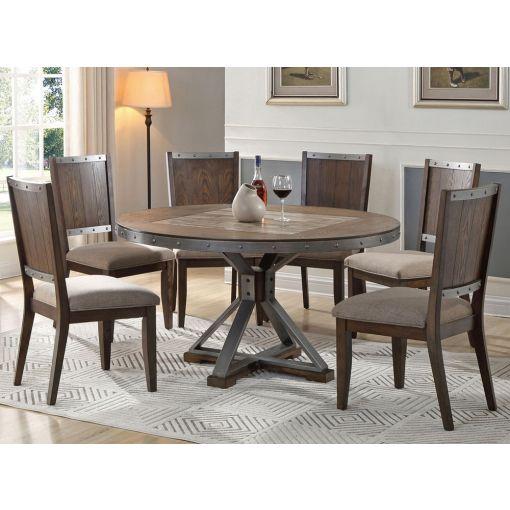 Doran Industrial Round Table Set,Doran Industrial Style Server,Doran Industrial Style Round Table,Doran Industrial Style Chair,Doran Industrial Style Dining Room Set