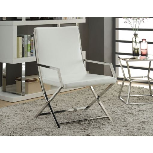 Dyna White Modern Accent Chair