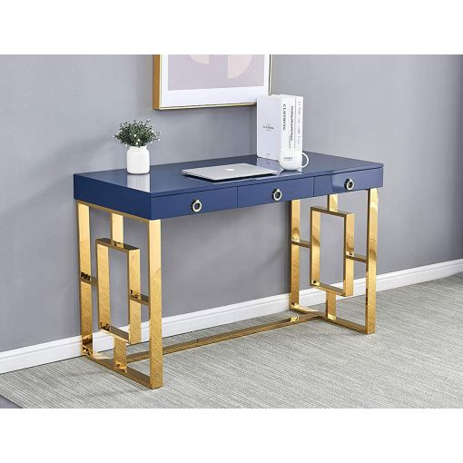 Enigma Navy Office Desk With Gold Base