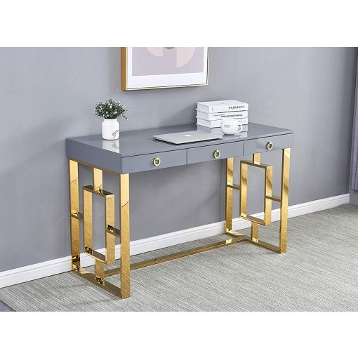 Enigma Grey Office Desk Gold Base