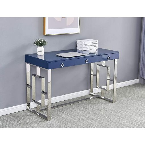 Enigma Navy Office Desk With Chrome Base
