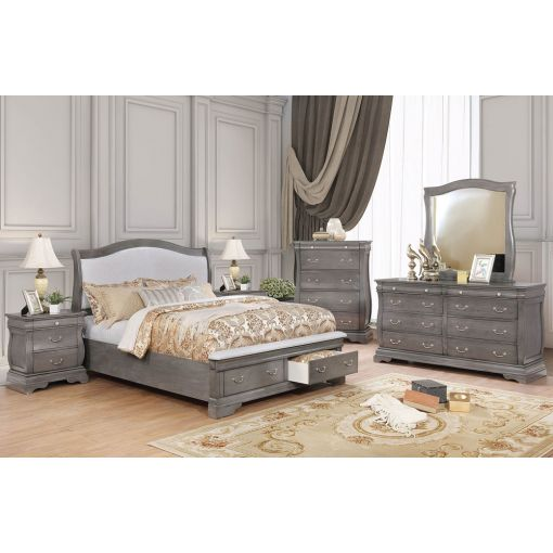 Erlend Grey Finish Storage Bed