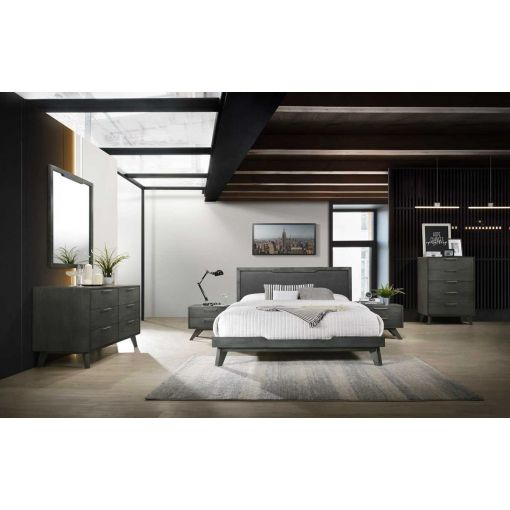 Erminio Platform Bed Rustic Grey Finish