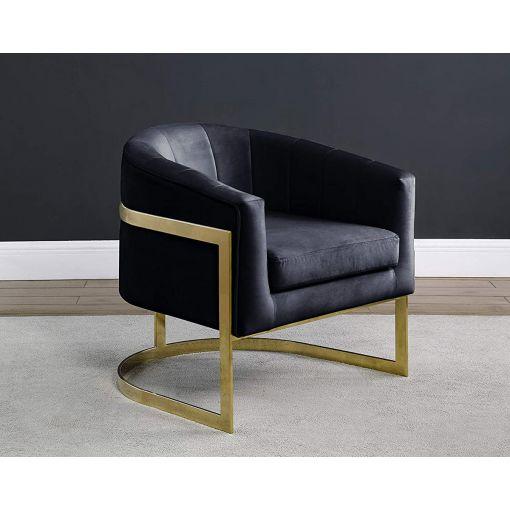 Estevao Black Velvet Accent Chair Gold
