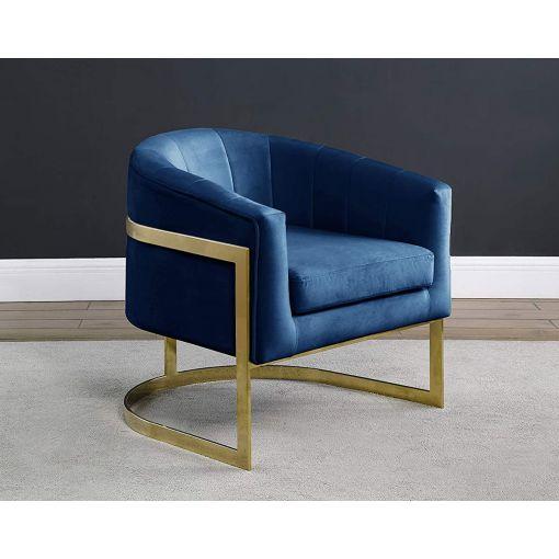 Estevao Navy Velvet Accent Chair