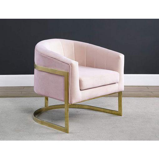 Estevao Light Pink Velvet Accent Chair
