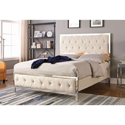 Fares Beige Velvet Upholstered Bed