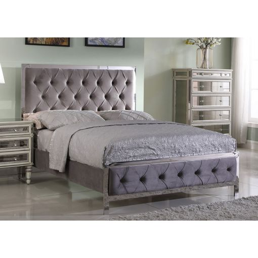 Fares Gray Velvet Bed Chrome Frame