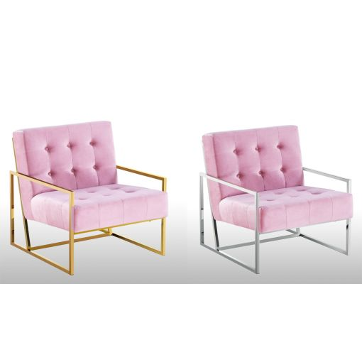 Fenton Blush Velvet Accent Chair
