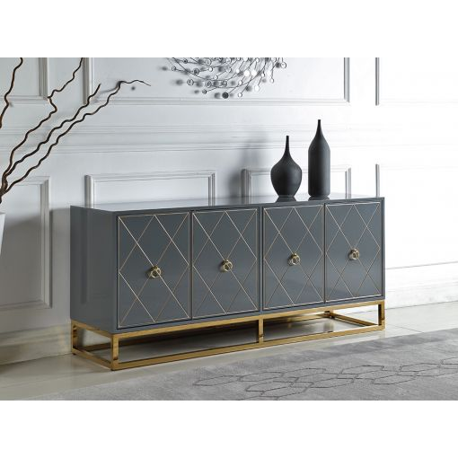 Fitz Grey Buffet With Gold Accents