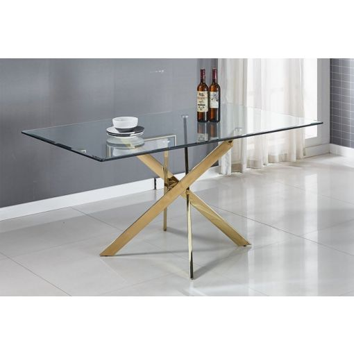 Geelong Large Glass Top Table Gold Base