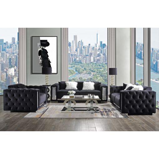 Gemmer Black Velvet Sofa With Crystal Accents