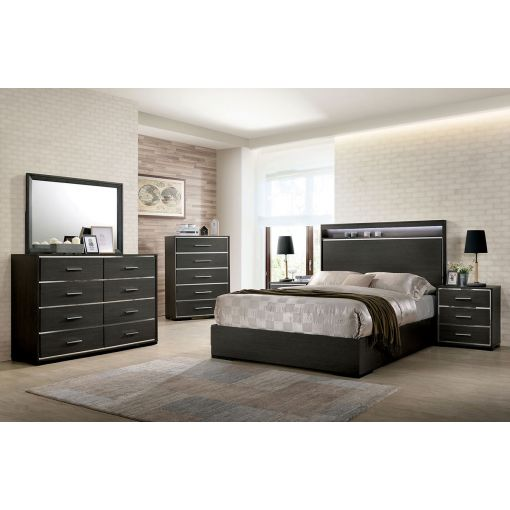 Gerrard Contemporary Bed With Mirror Accents