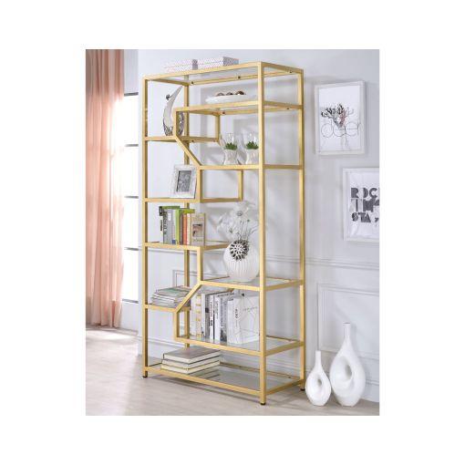 Giana Modern Glass Shelves Bookcase