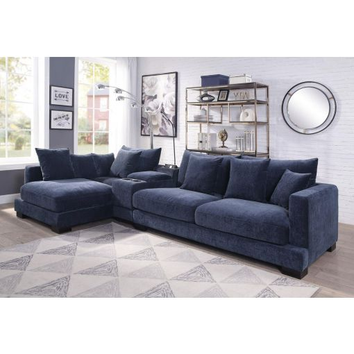 Giza Navy Blue Sectional With Deep Seats