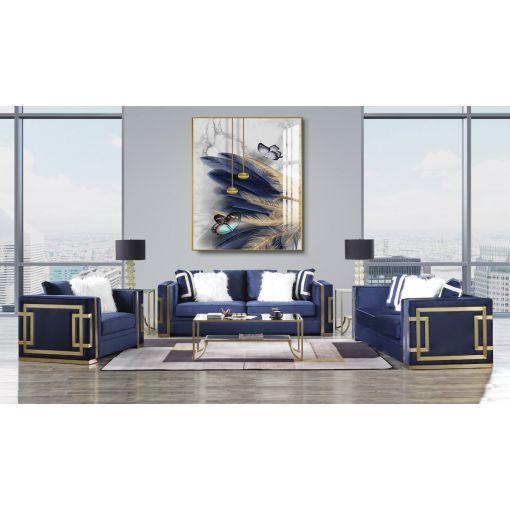 Graham Blue Velvet Sofa Gold Accents
