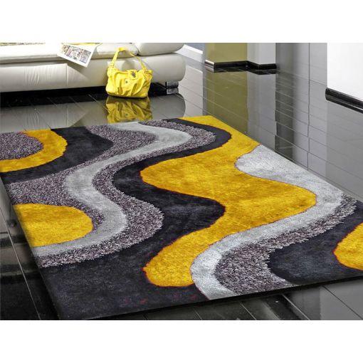 Yellow and Grey Shag Rug Design 29