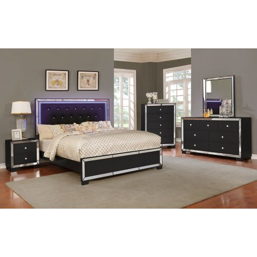 Guisto Mirrored Bed With LED Light