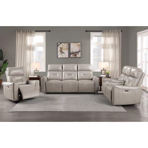 Gulliver Grey Leather Power Recliner Sofa Set