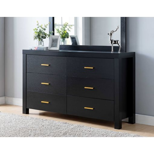 Hamet Black Finish Dresser With Gold Knobs