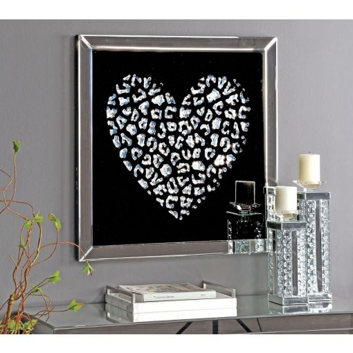 Heart Wall Art Mirrored Frame