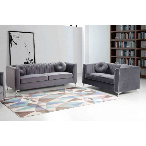 Herbert Grey Velour Modern Sofa