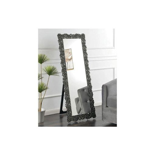 Heston Smocked Grey Floor Mirror