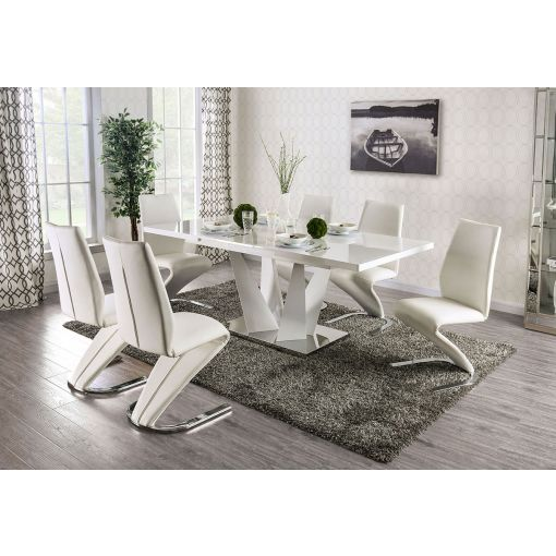 Huntsville White Lacquer Expendable Dining Table