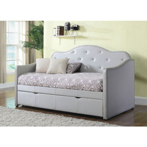 Jamie Grey Leather Daybed Crystal Tufted