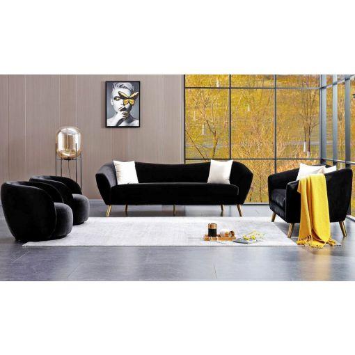 Jerico Black Flannelette Sofa Set