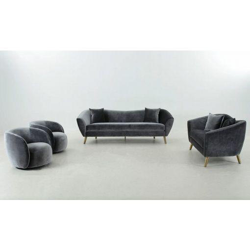 Jerico Grey Flannelette Modern Sofa Set