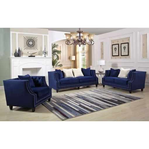 Jonas Navy Blue Velvet Sofa