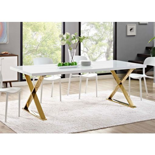 Juno White Dining Table With Gold Legs