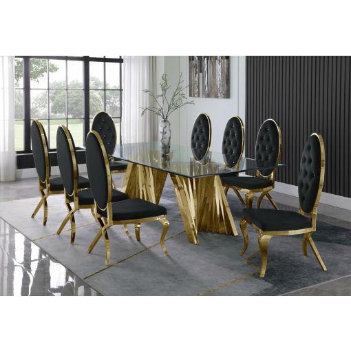 Kappa Large Glass Top Dining Table Set
